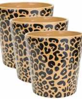 3x stuks bloempotten keramiek aardewerk voor kamerplanten tijger print d11 x h11 cm