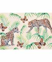 4x rechthoekige kunststof bordjes plankjes met tijger tijger print voor kinderen