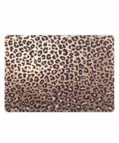 4x tafel placemats onderleggers met bronzen tijgerprint 30 x 45 cm