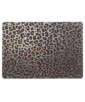 4x tafel placemats onderleggers met bruine tijgerprint 30 x 45 cm