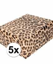 5x cadeaupapier tijgerprint tijgerprint 200 cm