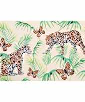 6x rechthoekige kunststof bordjes plankjes met tijger tijger print voor kinderen