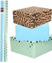 6x rollen kraft inpakpapier folie pakket tijgerprint blauw groen zilveren stippen 200 x 70 cm