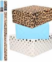 6x rollen kraft inpakpapier folie pakket tijgerprint blauw wit met zilveren stippen 200 x 70 cm
