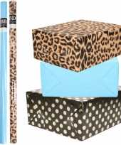 6x rollen kraft inpakpapier folie pakket tijgerprint blauw zwart met gouden stippen 200 x 70 cm