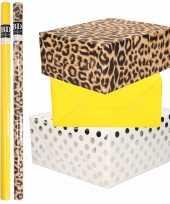6x rollen kraft inpakpapier folie pakket tijgerprint geel wit met zilveren stippen 200 x 70 cm