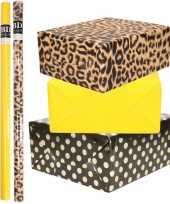 6x rollen kraft inpakpapier folie pakket tijgerprint geel zwart met gouden stippen 200 x 70 cm