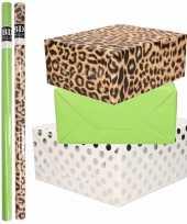 6x rollen kraft inpakpapier folie pakket tijgerprint groen wit met zilveren stippen 200 x 70 cm