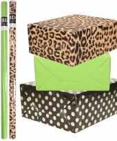 6x rollen kraft inpakpapier folie pakket tijgerprint groen zwart met gouden stippen 200 x 70 cm