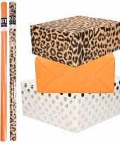 6x rollen kraft inpakpapier folie pakket tijgerprint oranje wit met zilveren stippen 200 x 70 cm