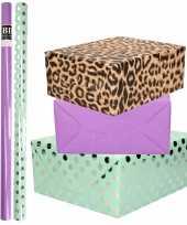 6x rollen kraft inpakpapier folie pakket tijgerprint paars mintgroen zilver stippen 200 x 70 cm