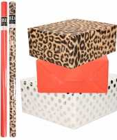 6x rollen kraft inpakpapier folie pakket tijgerprint rood wit met zilveren stippen 200 x 70 cm