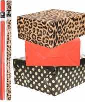 6x rollen kraft inpakpapier folie pakket tijgerprint rood zwart met gouden stippen 200x70 cm