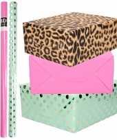 6x rollen kraft inpakpapier folie pakket tijgerprint roze mintgroen zilver stippen 200 x 70 cm