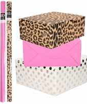 6x rollen kraft inpakpapier folie pakket tijgerprint roze wit met zilveren stippen 200 x 70 cm