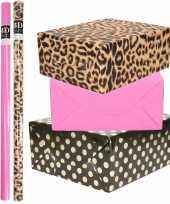 6x rollen kraft inpakpapier folie pakket tijgerprint roze zwart met gouden stippen 200 x 70 cm