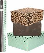 6x rollen kraft inpakpapier folie pakket tijgerprint zwart mintgroen zilver stippen 200 x 70 cm
