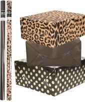 6x rollen kraft inpakpapier folie pakket tijgerprint zwart zwart met gouden stippen 200 x 70 cm