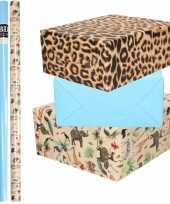 6x rollen kraft inpakpapier jungle tijger pakket dieren tijger blauw 200 x 70 cm