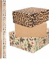 6x rollen kraft inpakpapier jungle tijger pakket dieren tijger bruin 200 x 70 cm