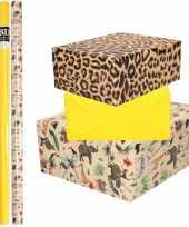6x rollen kraft inpakpapier jungle tijger pakket dieren tijger geel 200 x 70 cm