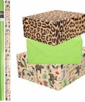 6x rollen kraft inpakpapier jungle tijger pakket dieren tijger groen 200 x 70 cm