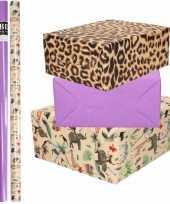 6x rollen kraft inpakpapier jungle tijger pakket dieren tijger paars 200 x 70 cm