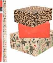 6x rollen kraft inpakpapier jungle tijger pakket dieren tijger rood 200 x 70 cm