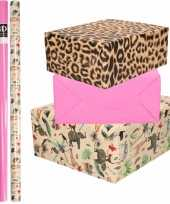 6x rollen kraft inpakpapier jungle tijger pakket dieren tijger roze 200 x 70 cm
