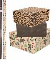 6x rollen kraft inpakpapier jungle tijger pakket dieren tijger zwart 200 x 70 cm