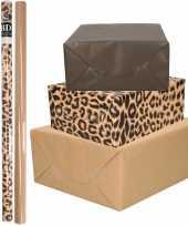 6x rollen kraft inpakpapier kaftpapier pakket bruin zwart tijgerprint 200 x 70 cm