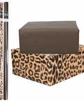 6x rollen kraft inpakpapier pakket tijger tijger print zwart 200 x 70 cm