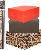 6x rollen kraft inpakpapier pakket tijger tijger thema 200 x 70 cm