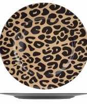 6x ronde kerstdiner diner borden onderborden tijgerprint 33 cm