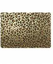 6x tafel placemats onderleggers met gouden tijgerprint 30 x 45 cm