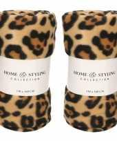 8x fleece dekens plaids tijger tijger print 130 x 160 cm