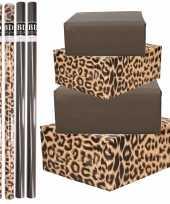 8x rollen kraft inpakpapier pakket tijger tijger print zwart 200 x 70 cm