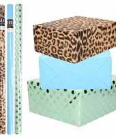8x rollen transparante folie inpakpapier pakket tijgerprint blauw groen met stippen 200 x 70 cm