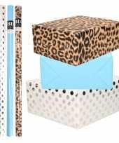 8x rollen transparante folie inpakpapier pakket tijgerprint blauw wit met stippen 200 x 70 cm