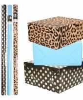 8x rollen transparante folie inpakpapier pakket tijgerprint blauw zwart met stippen 200 x 70 cm