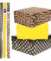 8x rollen transparante folie inpakpapier pakket tijgerprint geel zwart met stippen 200 x 70 cm