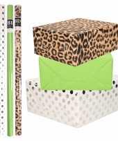 8x rollen transparante folie inpakpapier pakket tijgerprint groen wit met stippen 200 x 70 cm