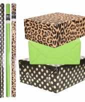 8x rollen transparante folie inpakpapier pakket tijgerprint groen zwart met stippen 200 x 70 cm