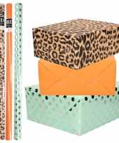 8x rollen transparante folie inpakpapier pakket tijgerprint oranje mintgroen met stippen 200 x 70 cm