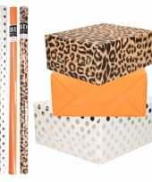 8x rollen transparante folie inpakpapier pakket tijgerprint oranje wit met stippen 200 x 70 cm
