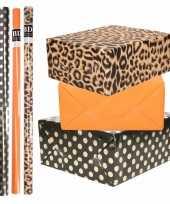8x rollen transparante folie inpakpapier pakket tijgerprint oranje zwart met stippen 200 x 70 cm