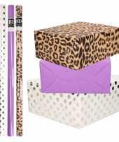 8x rollen transparante folie inpakpapier pakket tijgerprint paars wit met stippen 200 x 70 cm