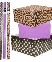 8x rollen transparante folie inpakpapier pakket tijgerprint paars zwart met stippen 200 x 70 cm