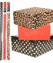 8x rollen transparante folie inpakpapier pakket tijgerprint rood zwart met stippen 200 x 70 cm