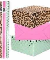 8x rollen transparante folie inpakpapier pakket tijgerprint roze groen met stippen 200 x 70 cm
